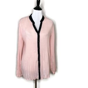 Ny Collection Accordion Pleated Blouse Pink Button